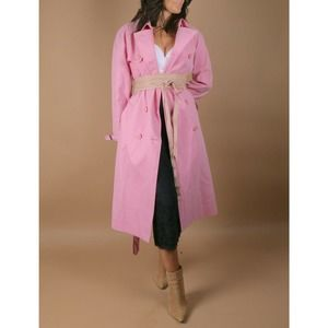 RALPH LAUREN Pink Cotton Belted Trench Coat Size 8
